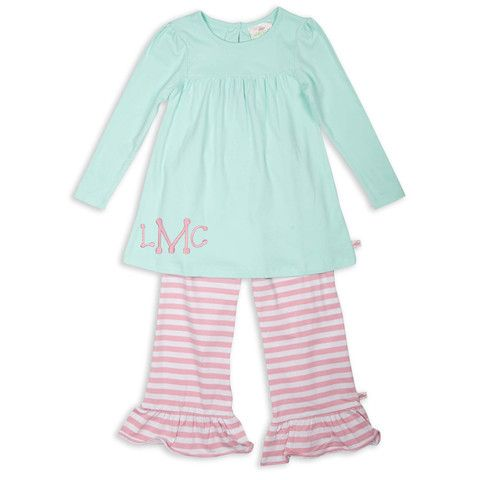 Girls Tiffany Bubblegum Pink Stripe Cotton Ruffle Pant Set – Lolly Wolly Doodle