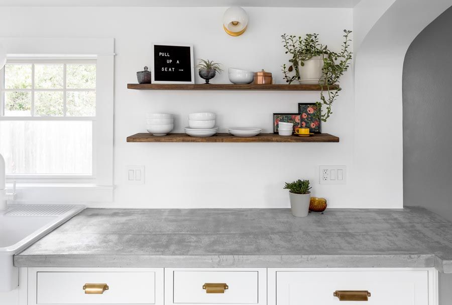 Open Wood Kitchen Shelving Concrete Countertops White Inset Cabinets Galley Kitchen Kitchen Design Gallery Grey Countertops Galley Kitchen Design