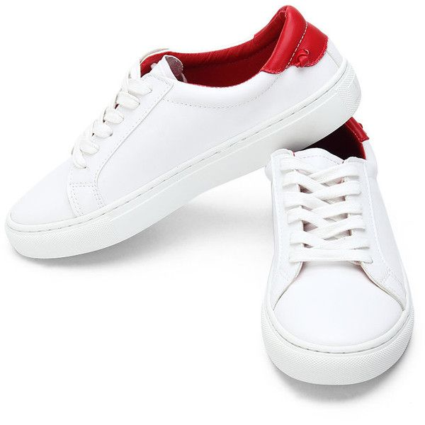 Yoins White Casual Leather Look Lace up Sneakers with Red