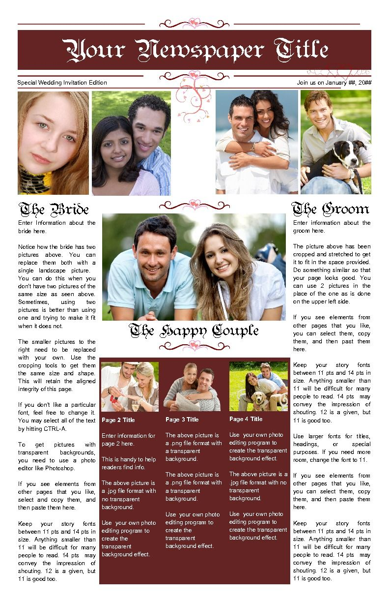 A Romantic Feel To The Front Page Of Your Newspaper Tell Your Story