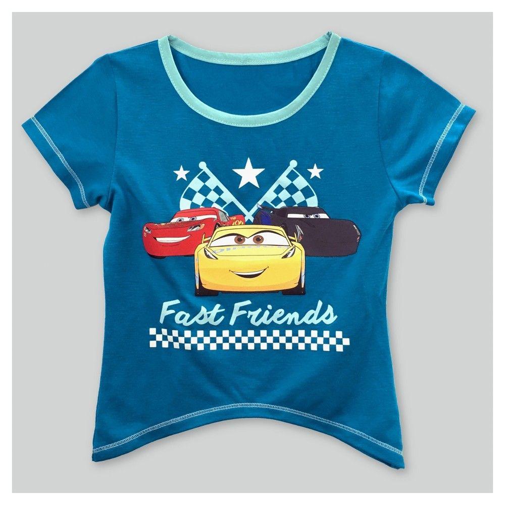 Toddler Girls' Cars Sharkbite Short Sleeve T-Shirt Turquoise 4T, Toddler Girl's, Blue