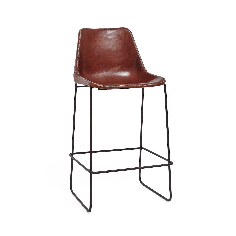 "Giron Brown Leather & Iron Barstool, 18""sq 37""h 27""h (sh)"