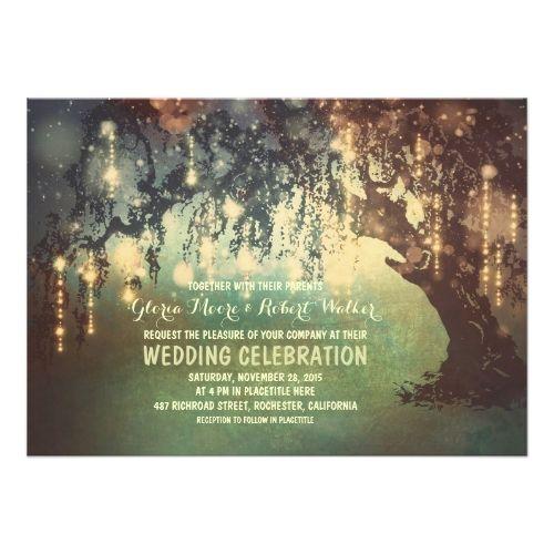 Garden Wedding Invitations Whimsical String Lights Tree