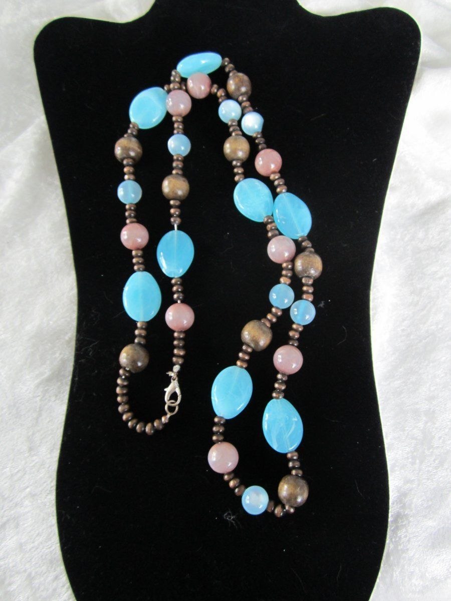 Necklace wood beads. Lucite plastic ocean blue and tan beads iridescent opaque - Necklaces  Pendants