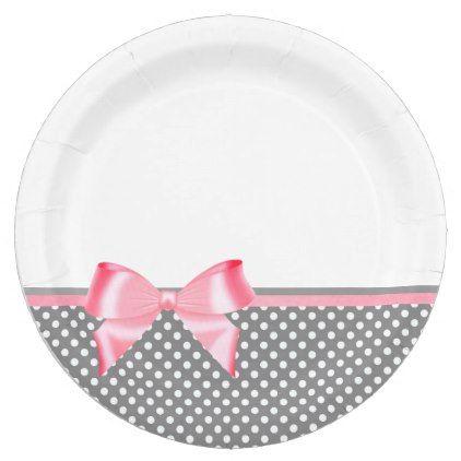 Gray and Pink Ribbow Polka Dots Paper Plates  sc 1 st  Pinterest & Gray and Pink Ribbow Polka Dots Paper Plates   pink style ...