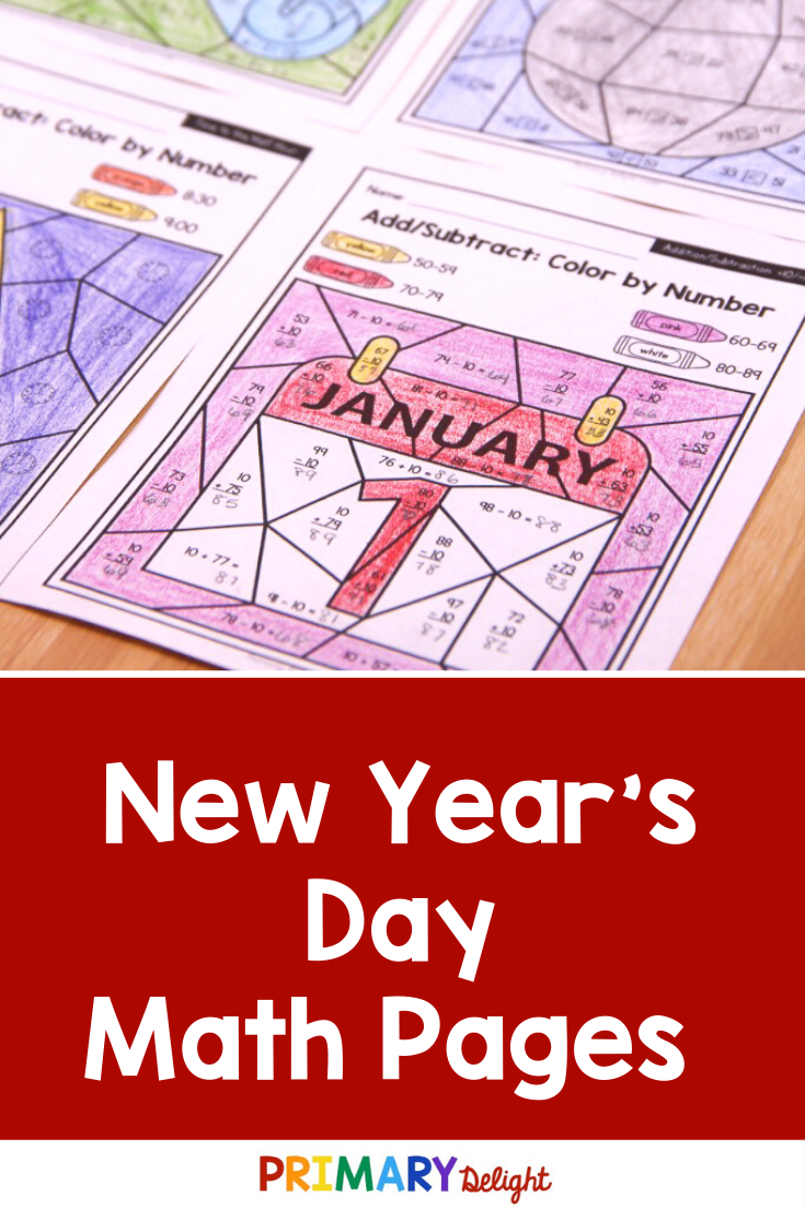 New Year S Day Color By Number Pages For Addition Subtraction Place Value Time For 1st Grade Math Math Pages Math Activities [ 1102 x 735 Pixel ]