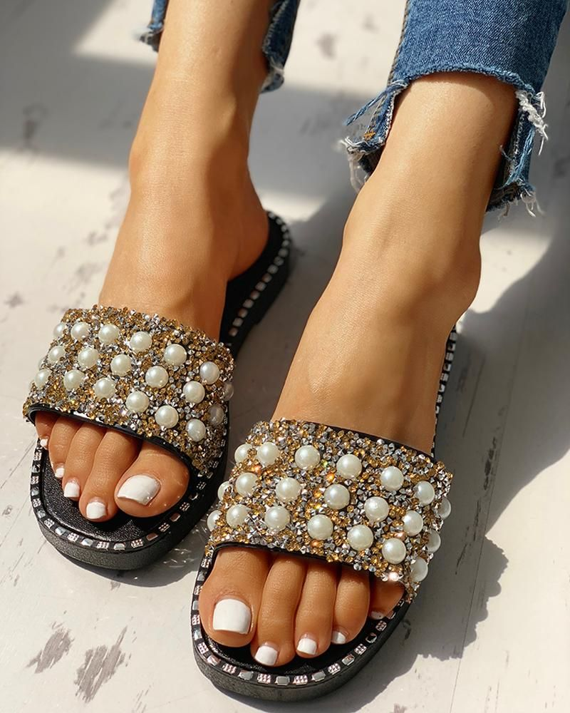 Bead Studded Detail Flat Sandals Bead Studded Detail Flat Sandals
