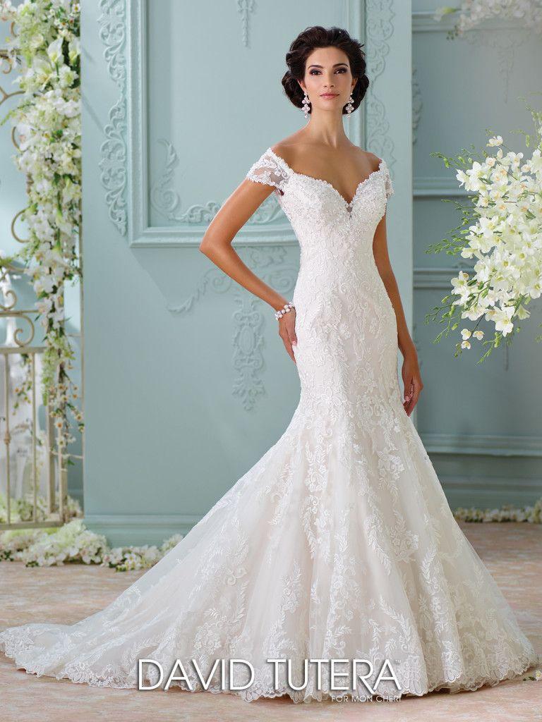 Off-The-Shoulder Embroidered Lace Wedding Dress- 116201 Aura | David ...