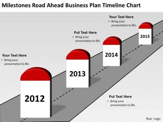 Milestones Road Ahead Business Plan Timeline Chart PowerPoint - Timeline graphic template