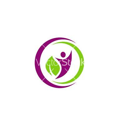 People eco leaf botany vegetarian logo vector