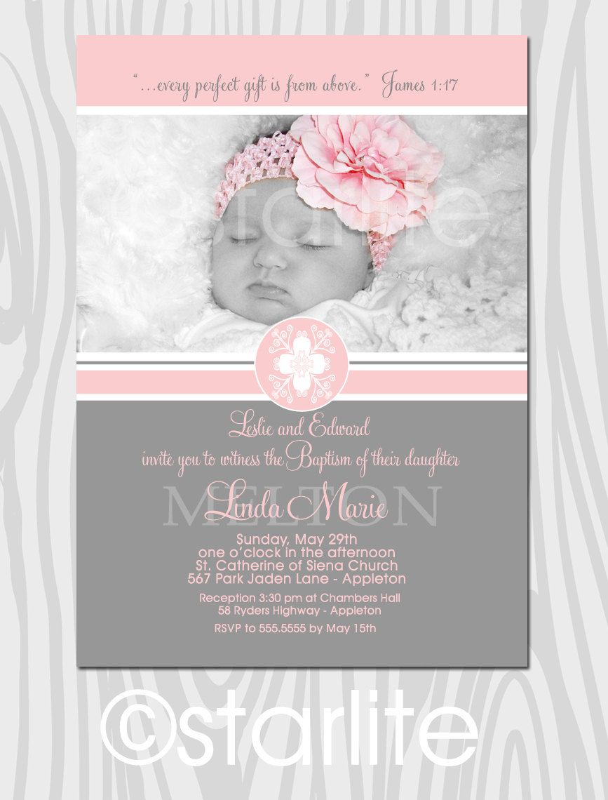 Baptism Photo Invitation Girl Blessed Feeling Pink And