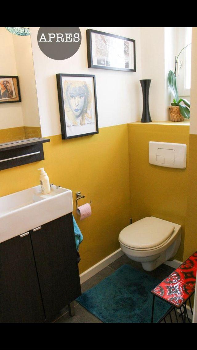 Contraste peinture toilettes Côté salle de bain Pinterest Coins
