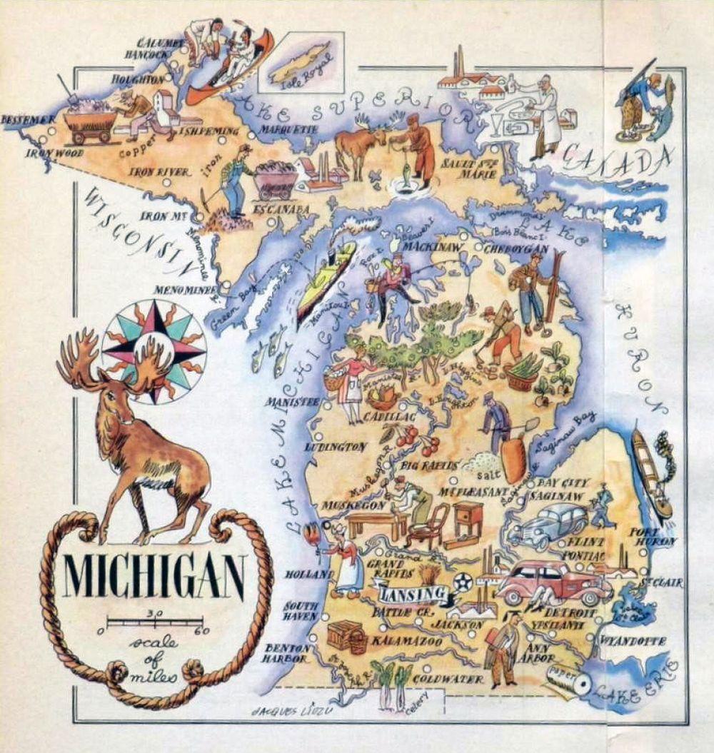 Detailed Michigan Map.Detailed Old Tourist Illustrated Map Of Michigan State 1946 Fun