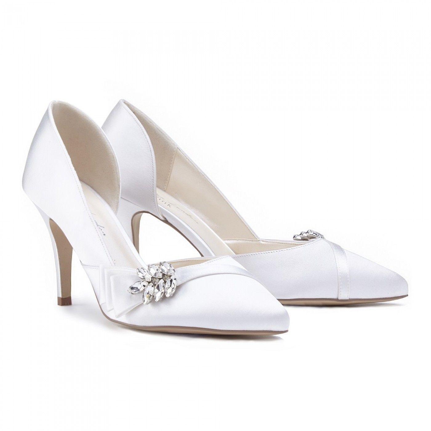 Pink Paradox Adrienne Ivory Satin Pointed Court Shoes With Crystal