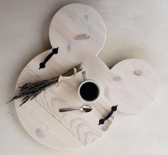 White Wash Wood Stain: Mickey Serving Tray