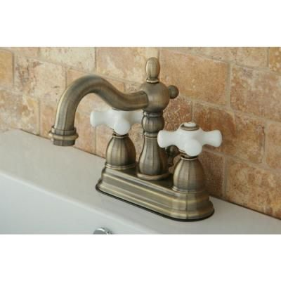 Kingston Brass Victorian 4 In Centerset 2 Handle Bathroom Faucet In Antique Brass Hkb1603px The Home Depot Kingston Brass Faucet Bathroom Faucets