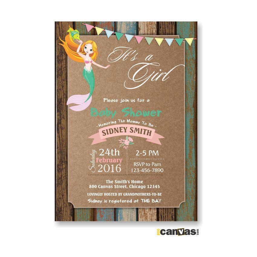 Mermaid Baby Shower Invitation, Valentine Baby Shower, Little ...