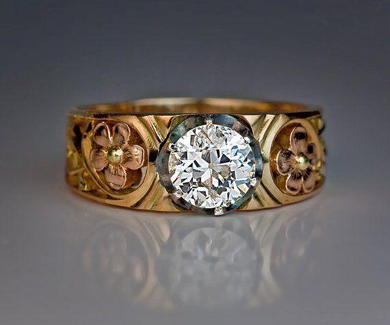 2105395c47cbf Art Nouveau 1.22 ct Diamond Gold Openwork Antique Men's Ring in 2019 ...