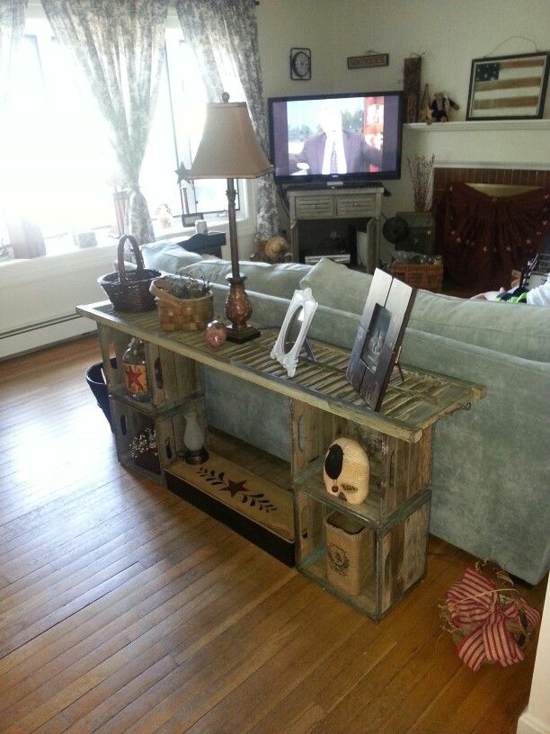 Sofa Table Made From Shutter And Old Wood Milk Crates Cover Top