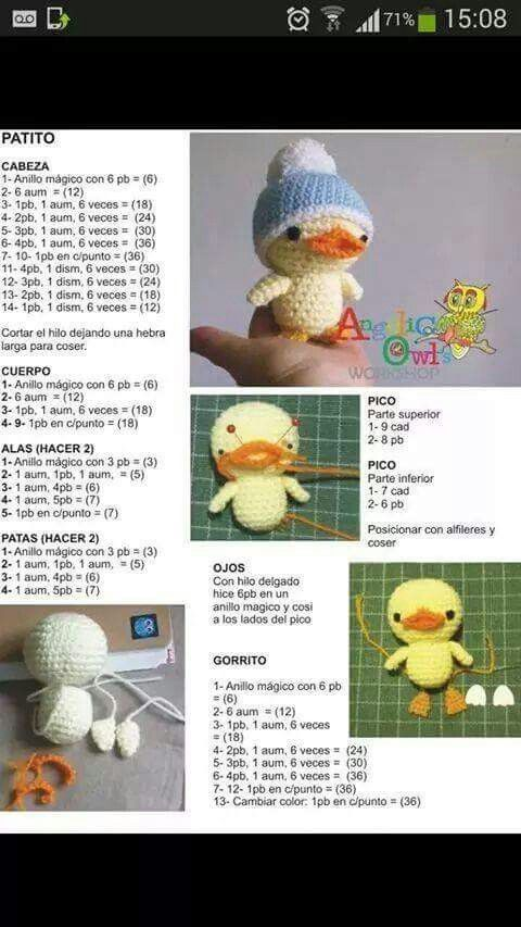 Patito | animales ganchillo | Pinterest | Patos, Patrones amigurumi ...