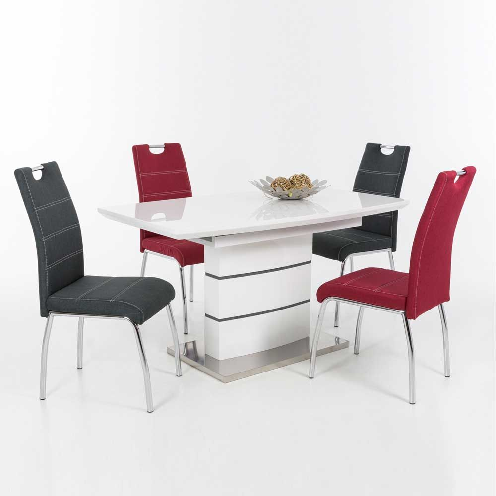 Esstisch mit Stühlen in Weiß Hochglanz Rot Anthrazit (5