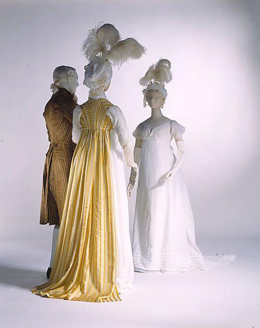 Dress Date: 1795–97 Culture: British Medium: silk, cotton Dimensions: Length at CB (bodice): 9 in. (22.9 cm) Length at CF (bodice): 1 3/4 in. (4.4 cm) Length at CB (skirt): 54 1/2 in. (138.4 cm)