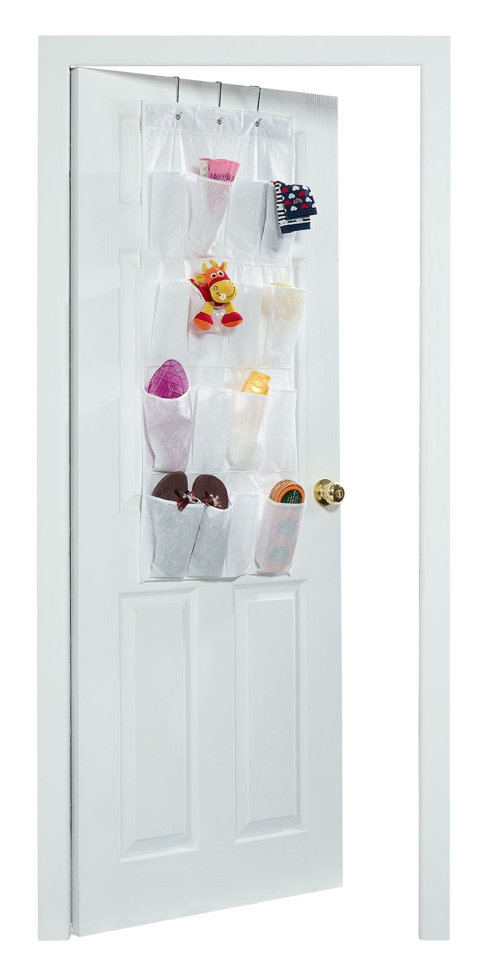 A Handy 16 Pocket Over The Door Organiser In A Stylish White