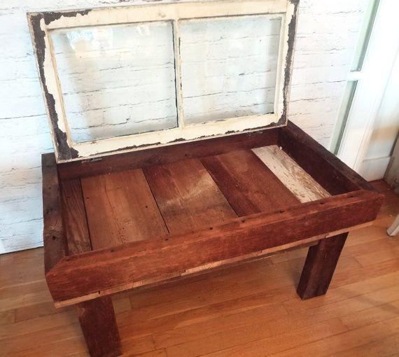 Captivating Handmade Rustic Antique Window Shadow Box Coffee Table Primitive Americana