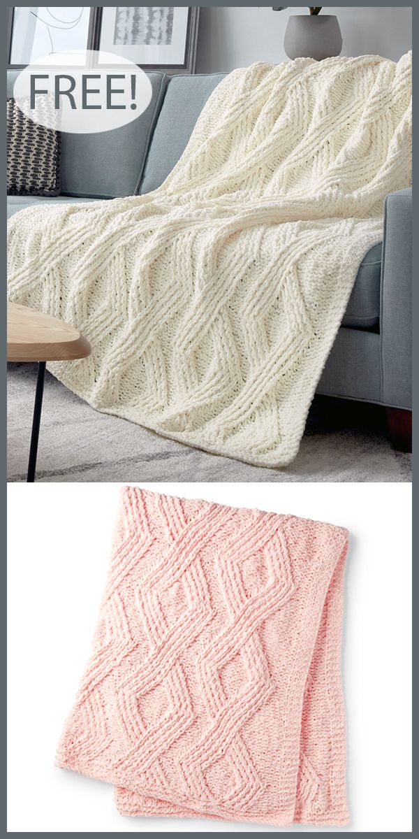 Photo of Free Knitting Pattern for Twisted Stitch Diamond Blanket