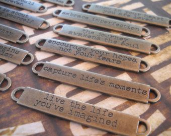 3 Quote Charms NEVER GIVE UP Pendants Antiqued Copper Word Finding Inspirational