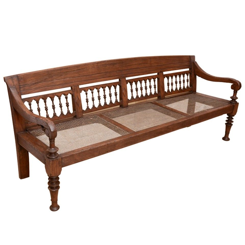 Early 19th Century Anglo Indian Caned Teakwood Bench Wooden Sofa Designs House Furniture Design Wooden Sofa Set