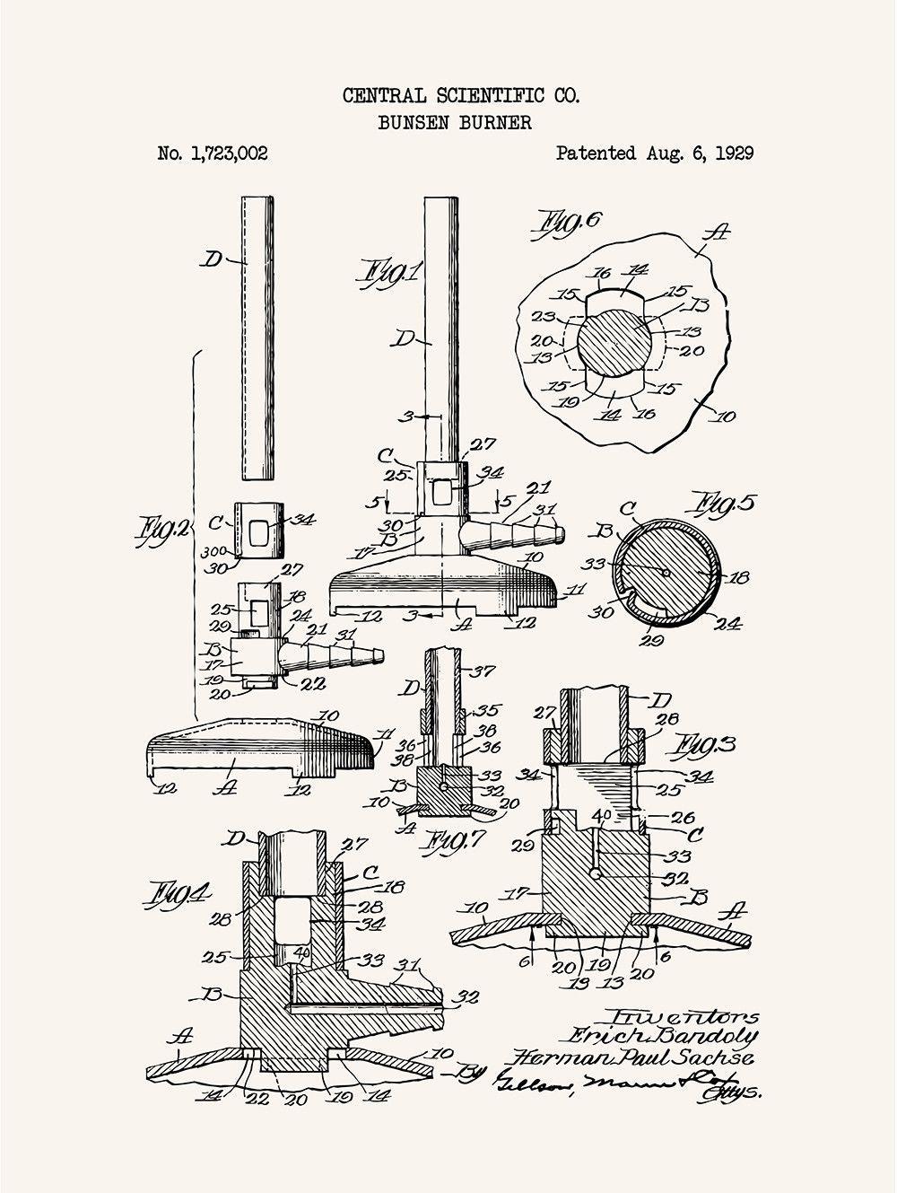 Bunsen Burner Central Scientific Co 1929 Bunsen Burner Scientific Screen Printing