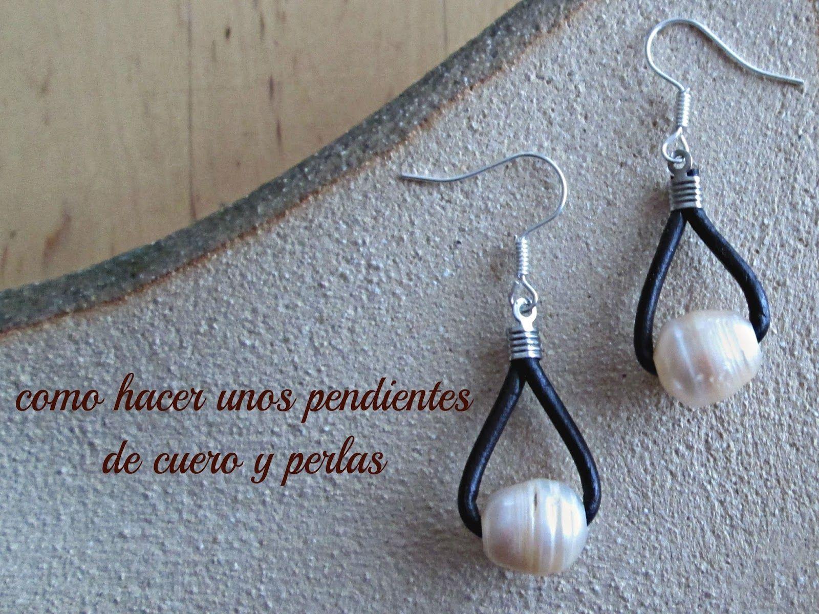 38ffe5cf2b7b tutoriales de bisuteria DIY  Como hacer unos pendientes con cuero y perlas  paso.