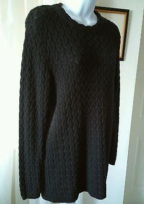 Spiegel Black Fisherman Crewneck Long Cable Knit Cotton Womens Sweater Med M