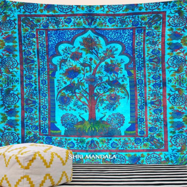 Pleasant Blue Green Tie Dye Tree Of Life Tapestry Wall