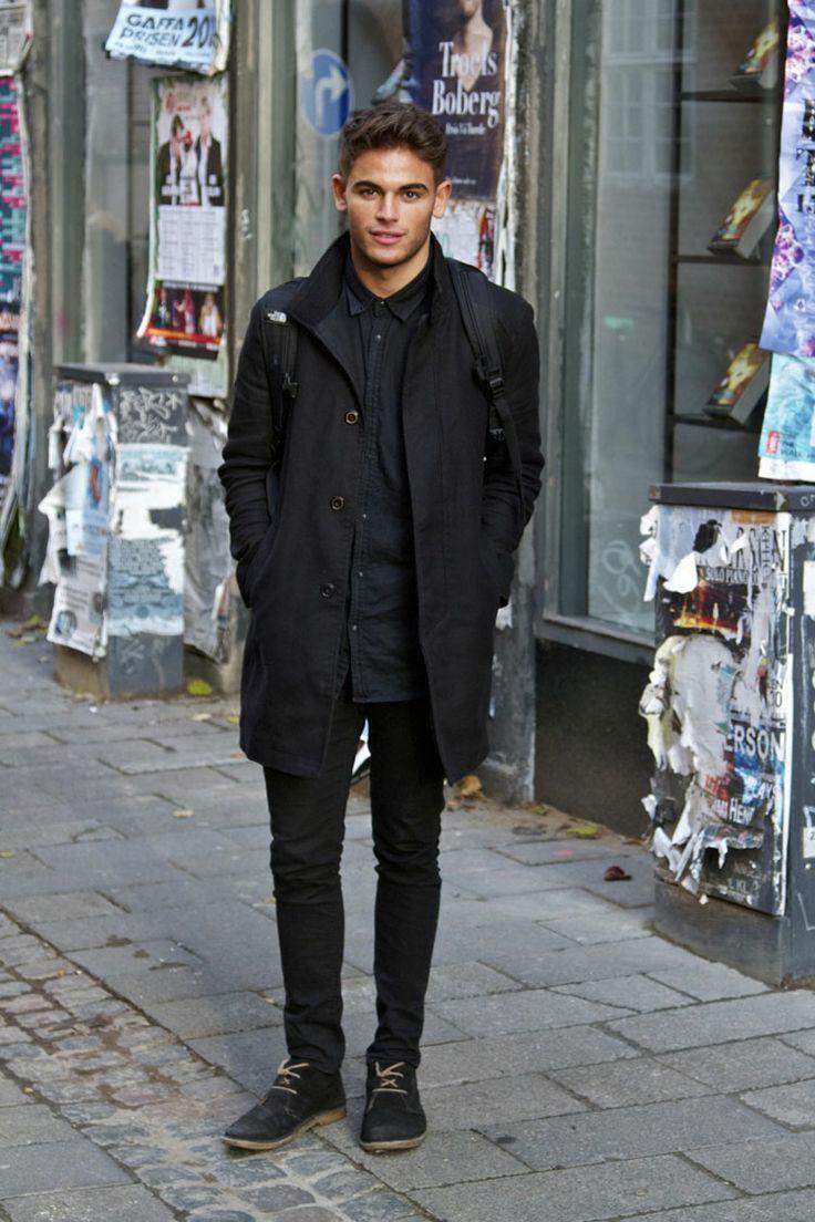 Men's Black Overcoat, Black Denim Shirt, Black Skinny Jeans, Black ...
