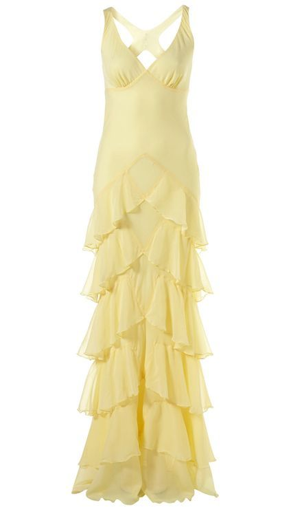 KATE MOSS for Topshop - pale yellow silk ruffle gown.  ad0384e6e44c
