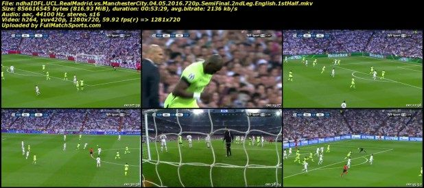 Full Match Real Madrid Vs Manchester City Champions League Semi Final 04 05 2016 Manchester City Real Madrid Full Match