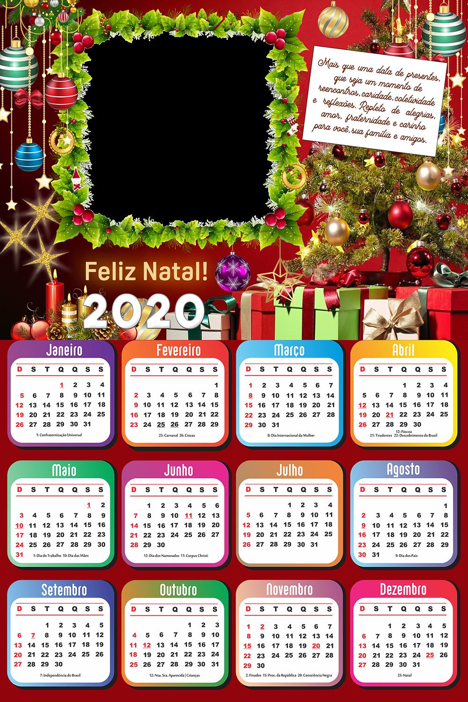 Calendário 2020 Com Mensagem De Feliz Natal Imagem Legal