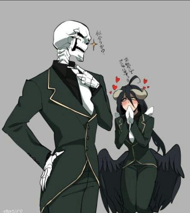 Ainz e albedo vestidos no estilo sebas tian manga