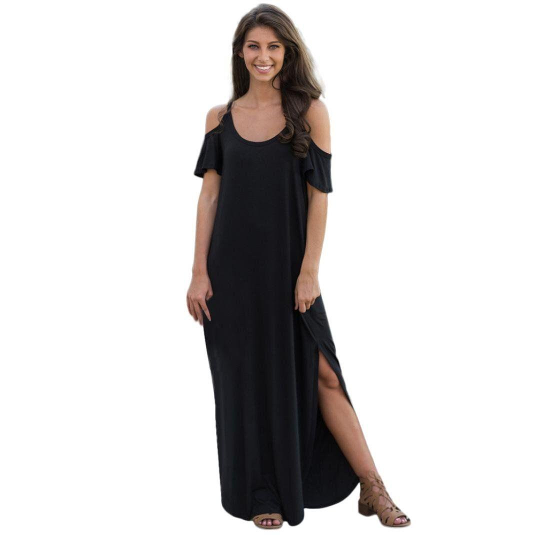 0bd8f937f22 Maternity Outfits - dressy maternity maxi dress   Women DressZTY66 Ladies  Summer Short Sleeve Solid Sling Cold Shoulder Beach Split Long Maxi Dress  Black XL ...