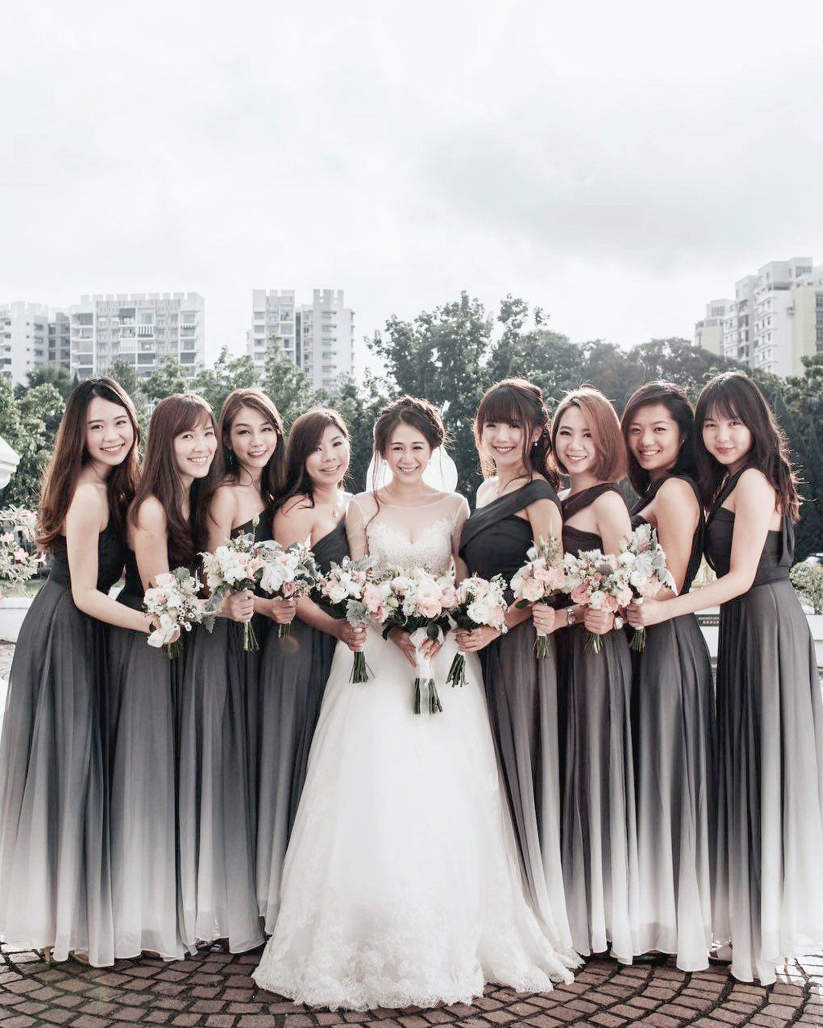 Backorder X Bernad Ombre Dark Ash Toga Theory Of Seven Ombre Wedding Dress Black And White Wedding Theme White Bridesmaid Dresses [ 2000 x 1602 Pixel ]