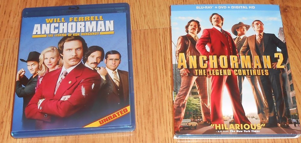 Anchorman 1 Ron Burgundy 2 The Legend Continues Blu Ray Dvd