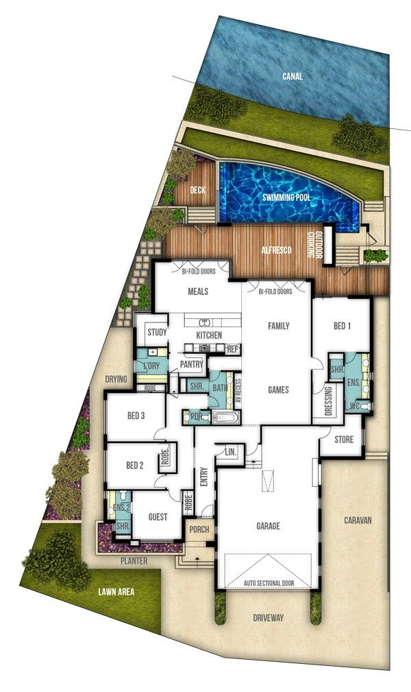 Riverbank Single Storey Canal Floor Plan By Boyd Design Perth Single Storey House Plans Beach House Plans Home Design Floor Plans