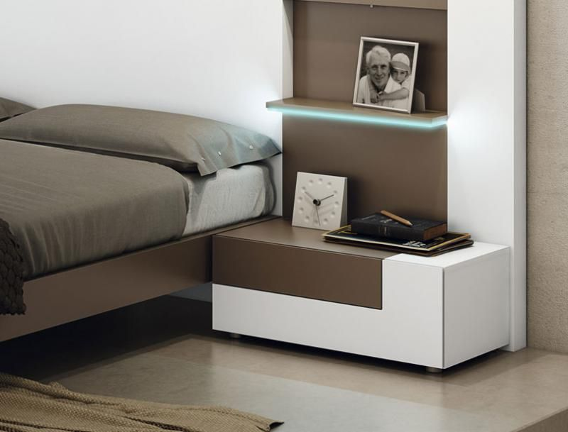 Contemporary 2 drawer bedside cabinet with small drawer and large ...