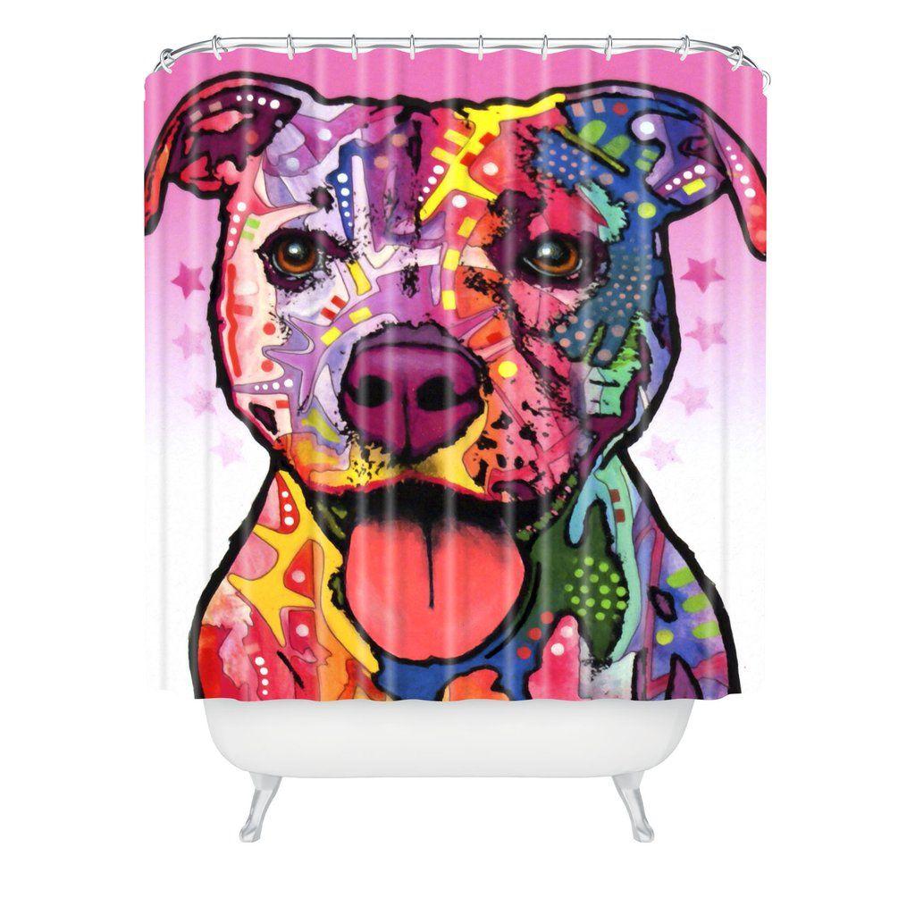 Dean Russo Cherish The Pitbull Shower Curtain Deny Designs Home Accessories Shower Curtain Curtains Long