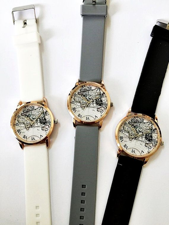World map watch women watches mens watch vintage style watch world map watch women watches mens watch vintage style watch unique watches boyfriend watchrose gold watch silicone watch bands new gumiabroncs Image collections