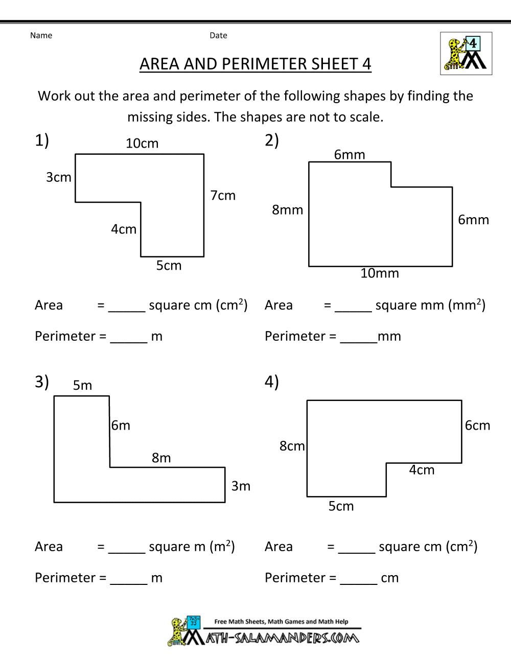 51 6th Grade Math Printable Worksheets And Answers Area Worksheets Perimeter Worksheets Math Worksheets