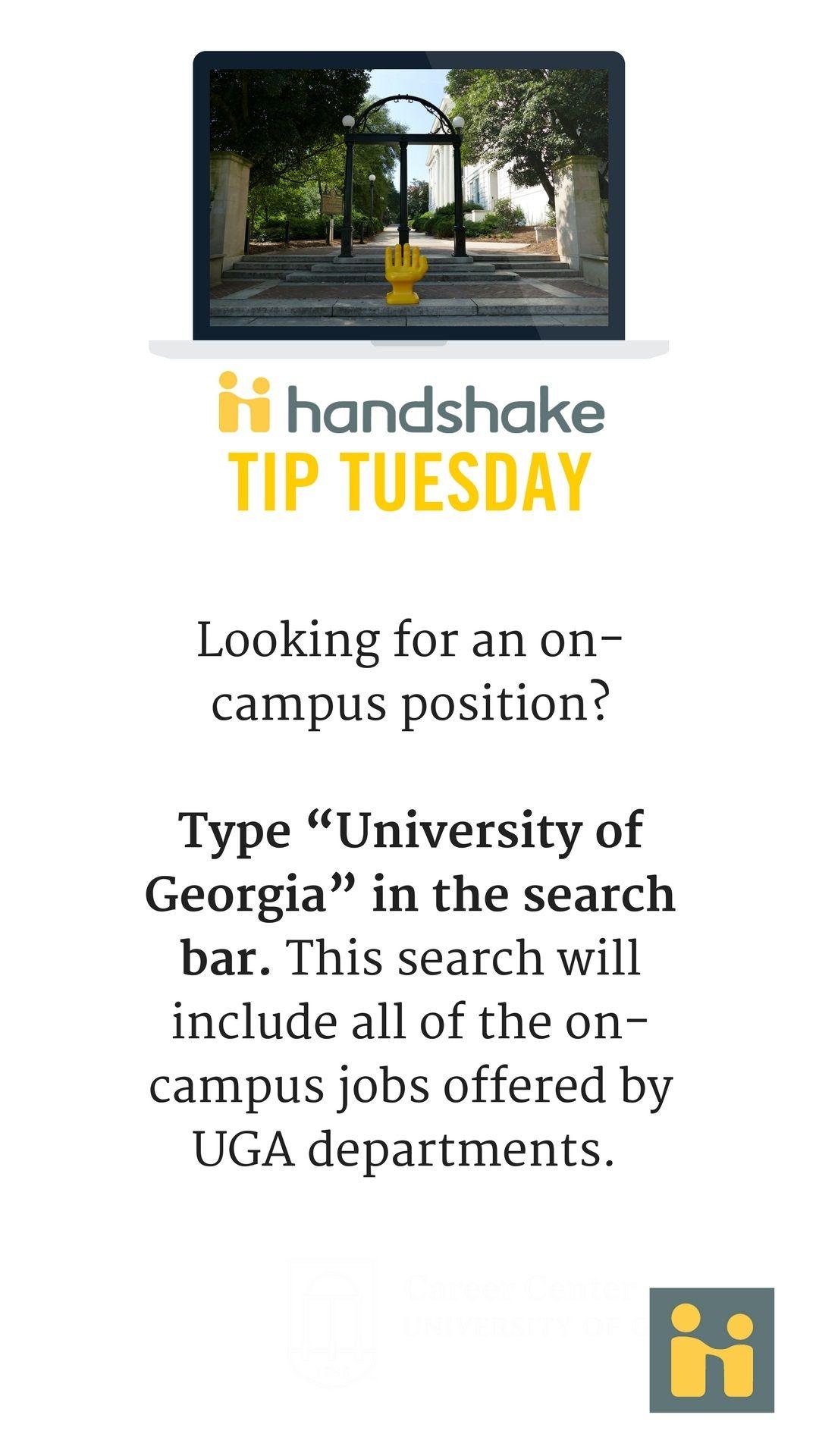 Pin by UGA Career Center on Handshake Tips Campus jobs