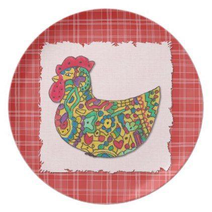 Colorful Rooster Melamine Plate | Zazzle.com | Melamine ...